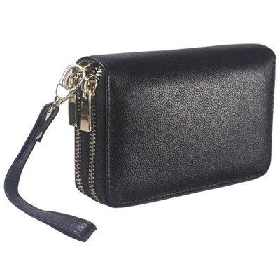 鑰匙包 頭層牛皮雙拉鏈大容量多功能手機包