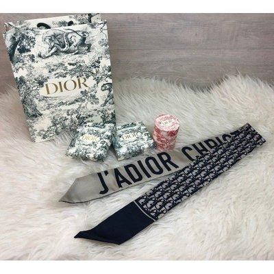 代購Dior 爆款 Mitzah Navy Blue 海軍藍 Twilly 絲巾 全新現貨