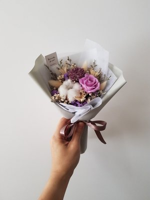 紫玫瑰永生+乾燥花迷你小花束│乾燥花束...