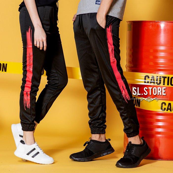 SL Store【CJP015】側邊白條/紅條撞色文字九分運動縮口褲.紅條/白條/S/M/L/XL/2XL