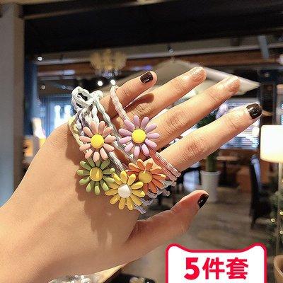 SWEET COVE~太陽花!小雛菊頭繩【5個混色裝】髮圈女韓版網紅泫雅風髮朵皮筋