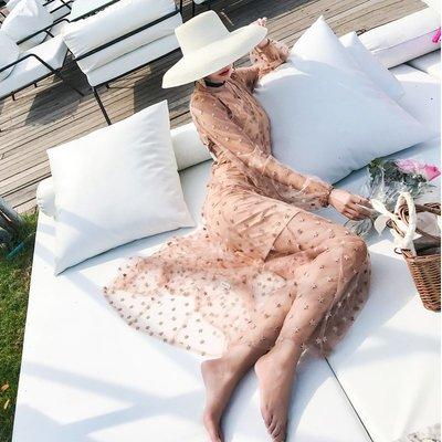 【Strawberry】很仙的三亞沙灘裙女海邊度假裙露背網紗兩件套星星刺繡超仙連衣裙