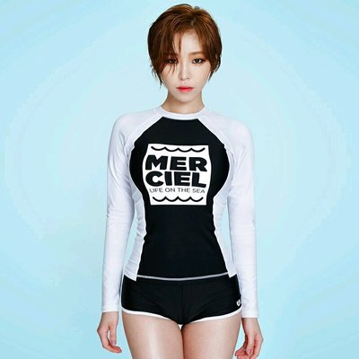 Qmi 韓國時尚分體長袖女款兩件套溫泉...
