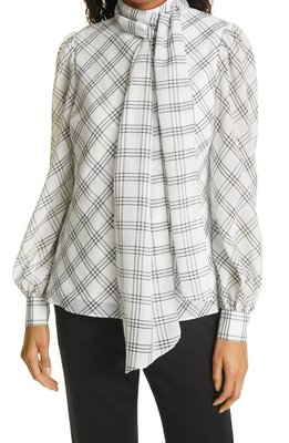 Windowpane Plaid Removable Tie Neck Blouse TED BAKER LONDON