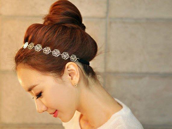【櫻桃飾品】韓版簍空玫瑰花造型髮帶 頭帶 髮箍 頭飾  超商取貨 貨到付款【20302】