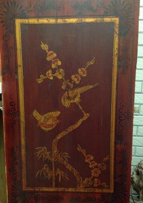 【黑狗兄】早期描金彩繪木板,窗花一件---02