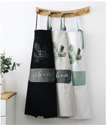 北歐風全純棉布藝圍裙防油清潔圍裙廚房家居咖啡店面包店半身圍裙CJJJ15588