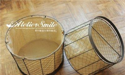 [ Atelier Smile ] 鄉村雜貨 復古作舊 鐵製 圓形收納籃 麻布內裡  # 小款  (現+預)