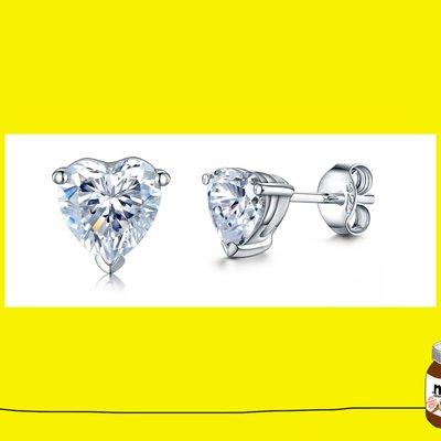 鑽石耳環0.4克拉心型 舒適 不過敏 ...