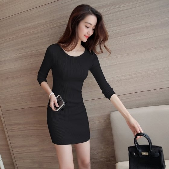 連身裙長袖打底連身裙韓版短款修身彈力針織百搭緊身包臀毛衣女