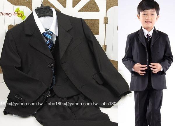 HoneyBaby~NO.576 花童套裝 黑色男童6件式西裝外套.背心西褲.襯衫,領帶紅領結--64號~72號下標區