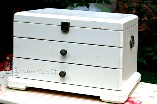 刷白珠寶箱--法國鄉村實木仿舊刷白大珠寶箱/珠寶盒/飾品收納盒--秘密花園
