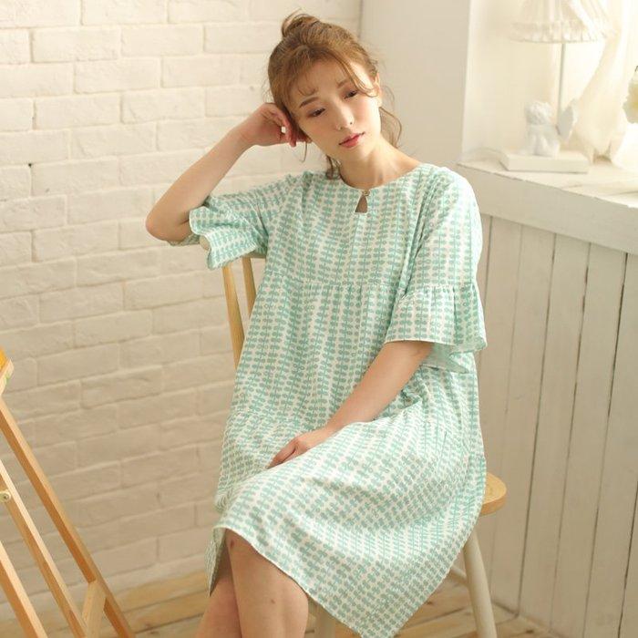 全棉 雙層紗布 夏季 日系小清新 女士 短袖睡裙 睡衣 家居服 中裙