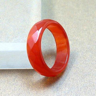 新井ニウビジネス正品天然紅瑪瑙戒指 紅玉髓多面指環戒指 玉石扳指白玉指環BVX#