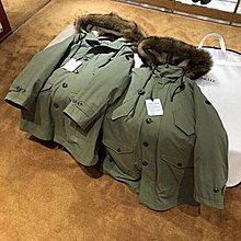 Moncler 狼毛羊羔毛 一體中長款羽絨派克大衣 外套 軍綠色