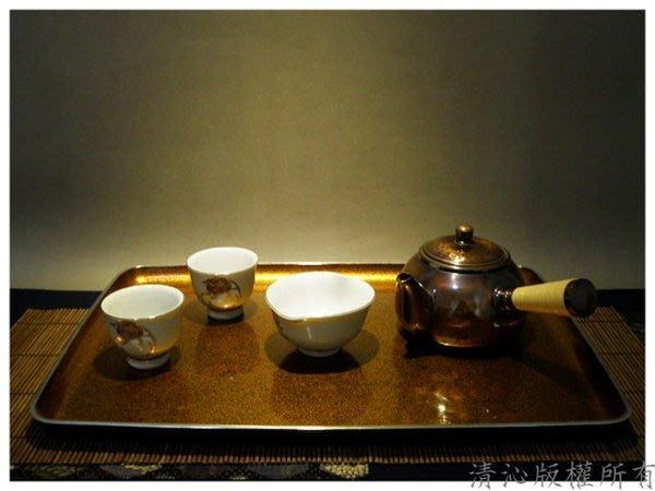 ☆清沁苑☆//清倉特價品出清//日本茶道具~本金銀邊漆塗煎茶盆 茶盤~q107