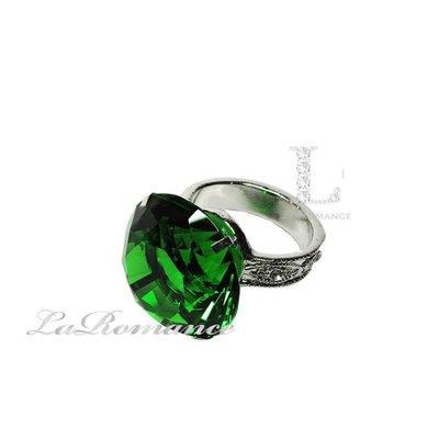 【芮洛蔓 La Romance】 4 cm 水晶鑽戒指造型餐巾環 - 綠色 / 情人節 / 求婚