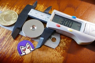 @萬磁王@強力磁鐵-30mmx2.5mm(單孔3mm)帶孔磁鐵