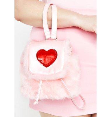 【丹】DK_Sugar Thrillz AT FIRST SIGHT FUZZY 粉紅色 愛心 毛毛 後背包