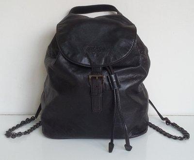 PRADA 小羊皮 NAPPA 皮革 經典 LOGO 後背包,保證真品 超級特價便宜賣