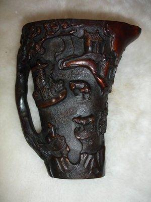 【貝勒爺古文物】K69 (清代)天然角雕杯