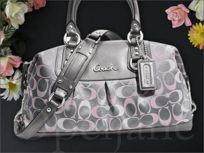 美國真品 COACH 18425 灰/紫色織布肩背包托特包醫生包波士頓包手提包 18370小款 免運費 愛coach包