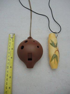 【輝藏多古物】陶笛_1個為塑膠材質仿陶笛(風潮音樂) 1個為竹子造型陶笛