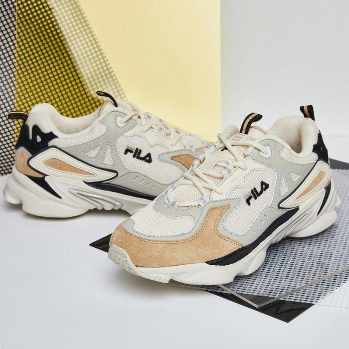 【Luxury】Fila skipper老爹鞋 超時髦奶茶配色 時髦感 復古感兼具 多種布料混和拼接 男女鞋 情侶鞋