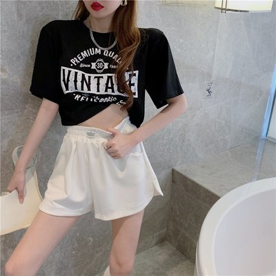 JOEY女裝~復古美式短袖T恤女夏季2021年新款歐美風ins字母印花寬松短款上衣
