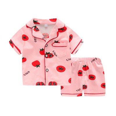 •*~ 辣媽咪衣飾小舖 ~*•❤童裝系列❤K950290韓版兒童夏款超可愛萌款『蕃茄』圖案家居服上衣+短褲二件套