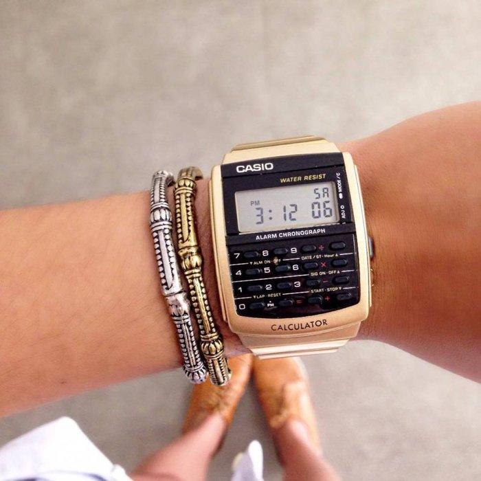 南◇2018 8月 CASIO 手錶 軍用錶  金色 電子錶 卡西歐 計算機 復古 DATA CA-506 不鏽鋼錶帶