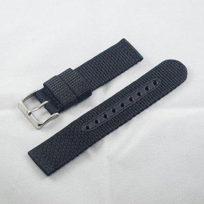 日本進口尼龍錶帶,黑色,不鏽鋼錶釦,20mm