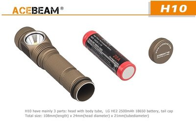 【LED Lifeway】ACEBEAM H10 黑色款(附原廠電池*2) 2000流明LED磁控頭燈(1*18650)