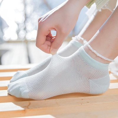 襪子女短襪可愛船襪純棉女襪夏季女士襪薄款低筒蕾絲花邊系