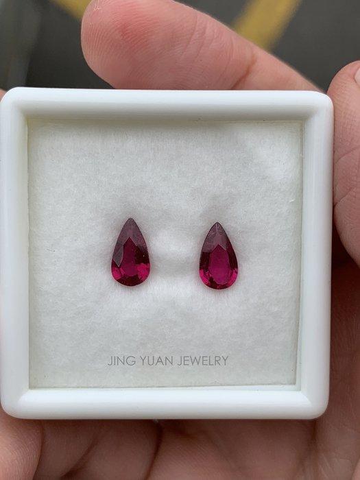 JING YUAN JEWELRY 顏色美美水滴紅碧璽ㄧ組2顆共重1.21ct 顏色漂亮 淨度通透 做垂墜耳環 超美!!!