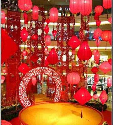 工程定制 春節商場酒店中庭大廳吊頂裝飾紅粉異形燈籠