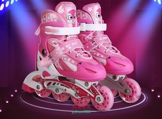 美學258貝多拉 兒童溜冰鞋 兒童全套裝閃可調男女輪滑鞋滑冰鞋旱冰鞋韓版高❖83193