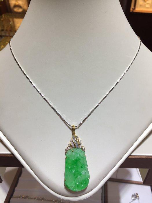 天然翡翠鑽石墜飾,顏色翠綠,鑽石閃亮,出清價13800