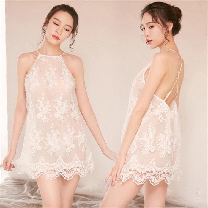 99巷 透視刺繡蕾絲睡裙情趣內衣吊帶睡衣夏女性感套裝