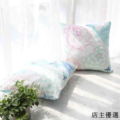 日韓花朵ins抱枕套沙發靠墊辦公靠枕床頭靠背靠包汽車靠墊不含芯