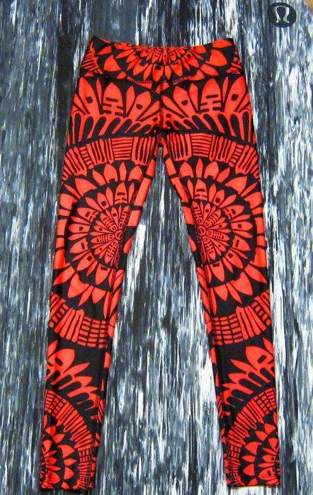 二手轉售 - 環保時尚時裝品牌Mara Hoffman active運動系列曼陀羅mandala圖案亮紅色運動褲內搭褲