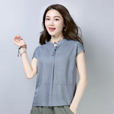 棉麻上衣 T恤2019女夏裝新款民族風圓領短袖寬鬆顯瘦百搭純色大碼TA2402【歡樂購】