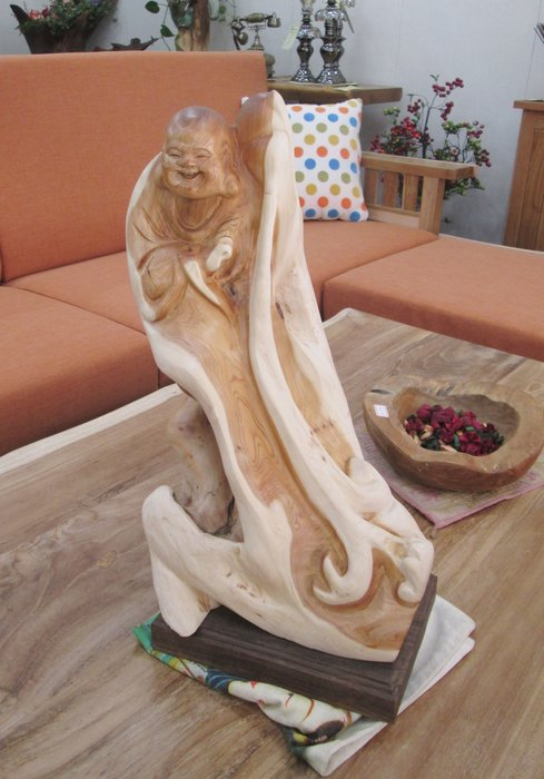 【肯萊柚木傢俱館】手工雕刻  崖柏彌勒佛 天然時尚 收藏品 擺飾 禮品 限量商品