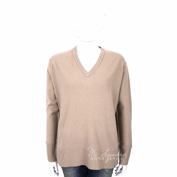 米蘭廣場 ALLUDE 喀什米爾駝色V領織紋羊毛衫 1740217-02