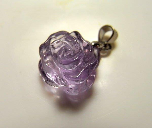 小風鈴~天然高檔精雕玫瑰花紫水晶墬(單顆起標) 招貴人