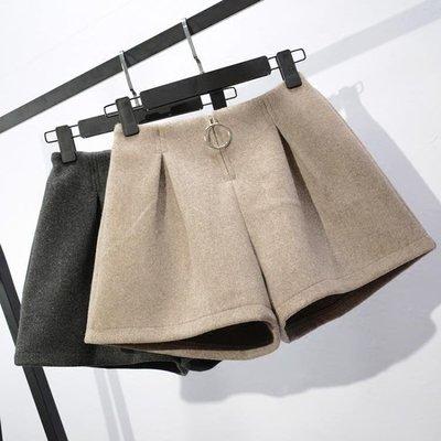 毛呢短褲女韓版鬆緊高腰a字闊腿褲寬鬆顯瘦外穿靴褲