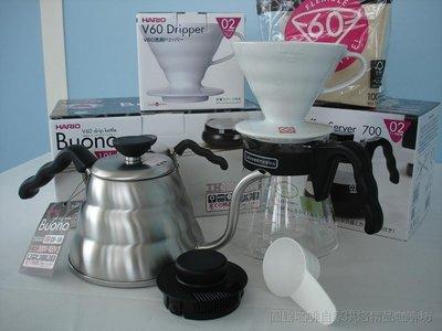 【圖騰咖啡】HARIO四合一手沖套餐組合: 雲朵細口壺VKV-100HSV +V60陶瓷錐型濾杯1~4人+V60錐型濾紙+700ML玻璃壺