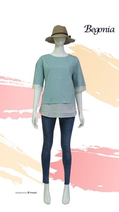 【 BEGONIA 】春夏品牌服飾新品特賣~雙布料剪接素面七分袖上衣   NO.BG01211