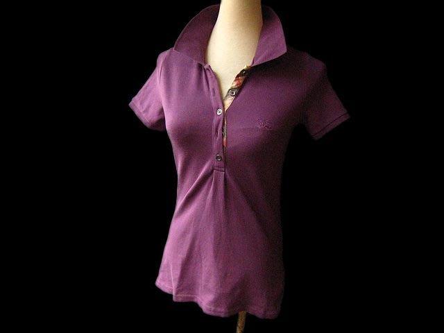 *BeautyBURBERRY紫色短袖POLO衫  PH