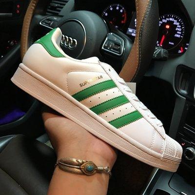 ADIDAS ORIGINALS SUPERSTAR 白底 綠尾 金標 綠白 金標 貝殼頭 男女鞋 BY3722